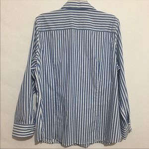 Foxcroft Tops - Foxcroft Wrinkle Free Blue Striped Button Shirt